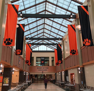 Select  PHS student Council provides new banners in high school atrium.