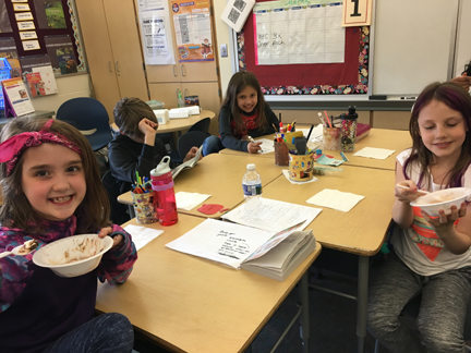 Mrs. Salvo's class enjoyed an Ice cream party